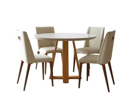 Jogo de Mesa de Jantar Redonda com Cadeiras Thyra - 04 Pessoas   WestwingNow