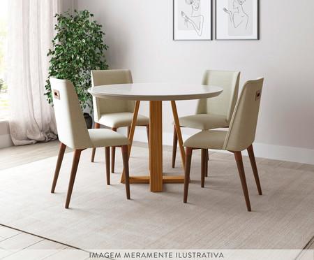 Jogo de Mesa de Jantar Redonda com Cadeiras Thyra - 04 Pessoas | WestwingNow