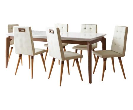 Jogo de Mesa de Jantar Retangular com Cadeiras Olga - 06 Pessoas | WestwingNow