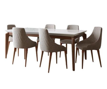 Jogo de Mesa de Jantar Retangular com Cadeiras Nouveau - 06 Pessoas | WestwingNow