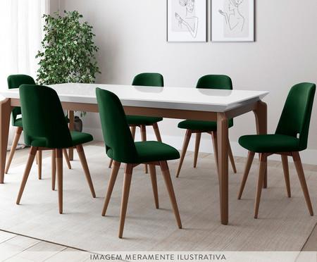 Jogo de Mesa de Jantar Retangular com Cadeiras Selina - 06 Pessoas | WestwingNow