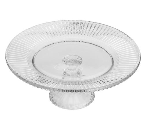 Prato para Bolo com Pé em Cristal Flora - Transparente, Transparente | WestwingNow
