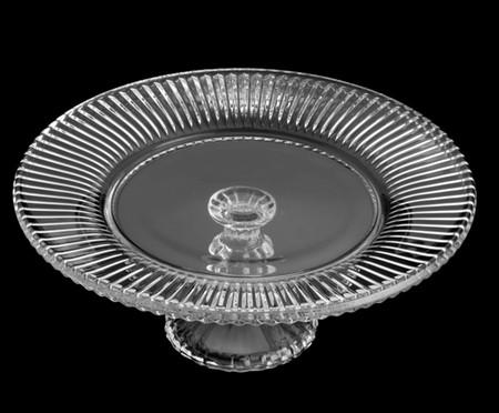 Prato para Bolo com Pé em Cristal Flora - Transparente | WestwingNow