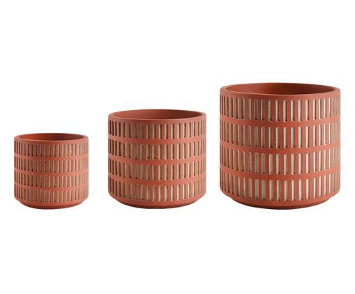 Jogo de Cachepots de Cimento Érica - Marrom, Marrom | WestwingNow