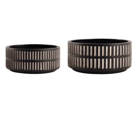 Jogo de Cachepots de Cimento Kell - Preto | WestwingNow