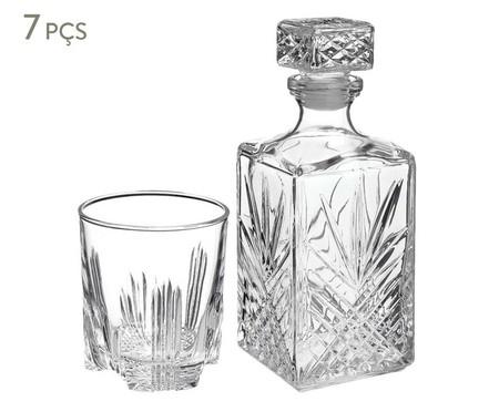 Jogo de Garrafa e Copos em Vidro Diniz - Transparente | WestwingNow