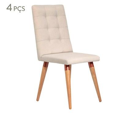 Jogo de Cadeiras de Madeira Olga - Bege   WestwingNow
