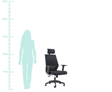 Cadeira Office Braga com Encosto - Preto | WestwingNow