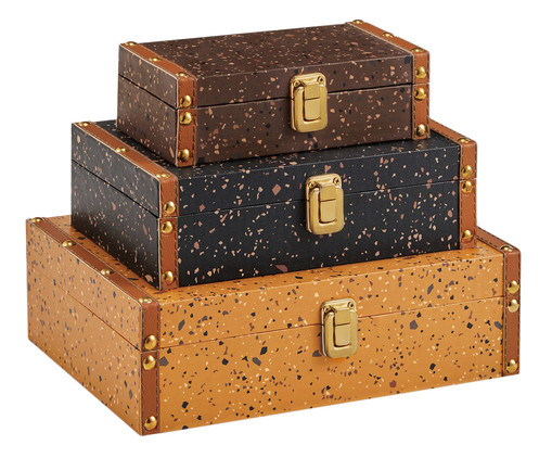 Jogo de Caixas Ginger - Colorido, Marrom, Laranja, Azul | WestwingNow