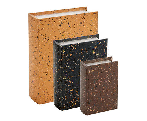 Jogo de Book Boxes Lato - Colorido, Marrom, Laranja, Azul | WestwingNow