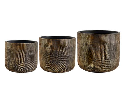Jogo de Cachepots de Cimento Haviva - Preto e Dourado, Preto | WestwingNow