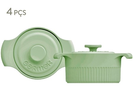 Jogo de Mini Cocottes em Porcelana Gerdanne - Verde | WestwingNow