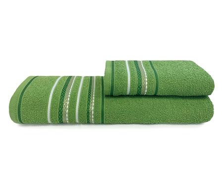 Jogo de Toalhas Nice Cenoura e Verde Arbusto 280G/M² - 04 Peças | WestwingNow