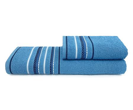 Jogo de Toalhas Nice Rosa Jardim e Azul 280G/M² - 04 Peças   WestwingNow