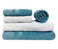 Jogo de Toalhas Nobless Branca e Azul Clara 500G/M² - 05 Peças | WestwingNow