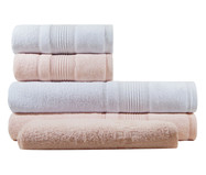 Jogo de Toalhas Splendore Branca e Rosê 450G/M² - 05 Peças | WestwingNow