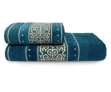 Jogo de Toalhas La Vie Rosa Chá e Azul Profundo 450G/M² - 05 Peças | WestwingNow