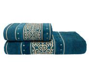 Jogo de Toalhas La Vie Azul Profundo 450G/M² - 02 Peças   WestwingNow