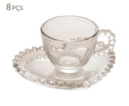 Jogo de Xícaras para Café em Cristal Pearl - Transparente | WestwingNow