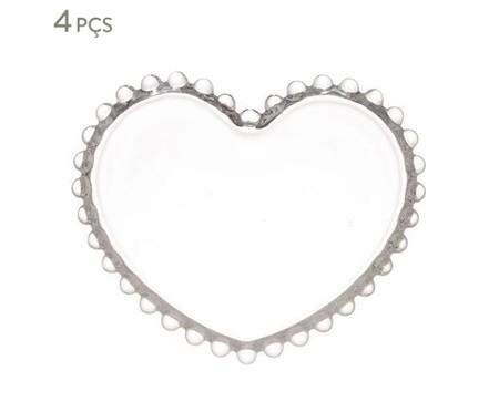 Jogo de Pratos Coração em Cristal Pearl - Transparente | WestwingNow