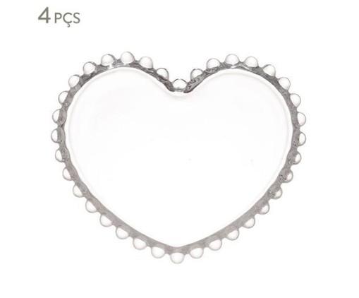 Jogo de Pratos Coração em Cristal Pearl - Transparente, Transparente   WestwingNow