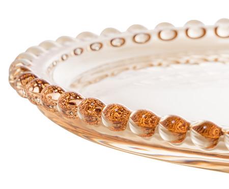 Prato de Sobremesa Coração em Cristal Pearl - Âmbar | WestwingNow