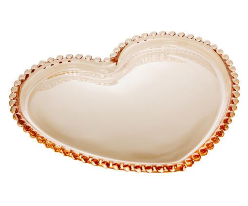 Prato de Sobremesa Coração em Cristal Pearl - Âmbar, Âmbar   WestwingNow