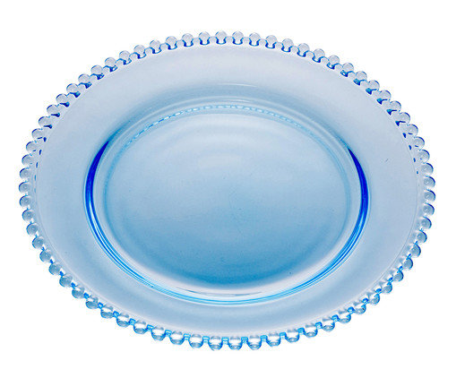 Prato de Sobremesa em Cristal Pearl - Azul, Azul   WestwingNow