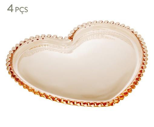 Jogo de Pratos Coração em Cristal Pearl - Âmbar, Âmbar | WestwingNow