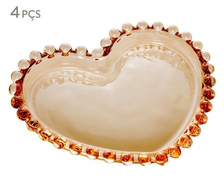 Jogo de Pratos Coração em Cristal Pearl - Âmbar | WestwingNow