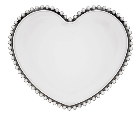 Prato Raso Coração em Cristal Pearl - Transparente | WestwingNow