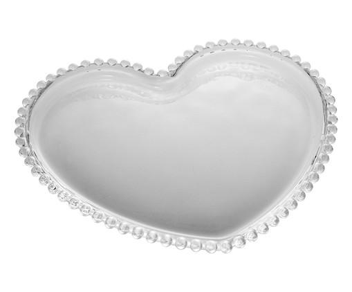 Prato Raso Coração em Cristal Pearl - Transparente, Transparente | WestwingNow