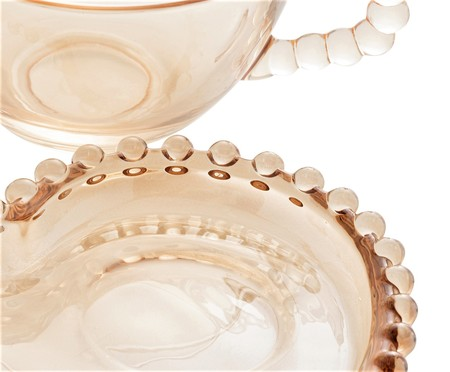 Xícara e Pires para Chá em Cristal Pearl - Âmbar | WestwingNow