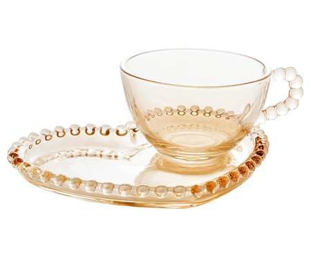 Xícara e Pires para Chá em Cristal Pearl Coração - Âmbar | WestwingNow