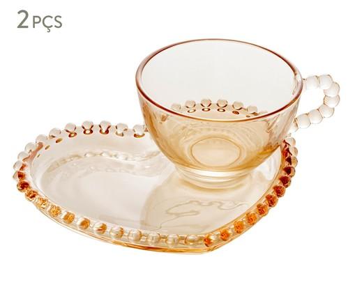 Xícara e Pires para Chá em Cristal Pearl Coração - Âmbar, Âmbar   WestwingNow