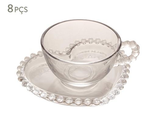 Jogo de Xícaras para Chá em Cristal Pearl - Transparente, Transparente   WestwingNow