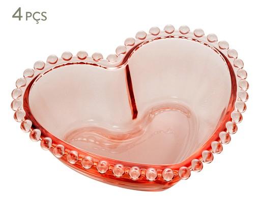 Jogo de Bowls Coração em Cristal Âmbar - Rosa, Rosa | WestwingNow