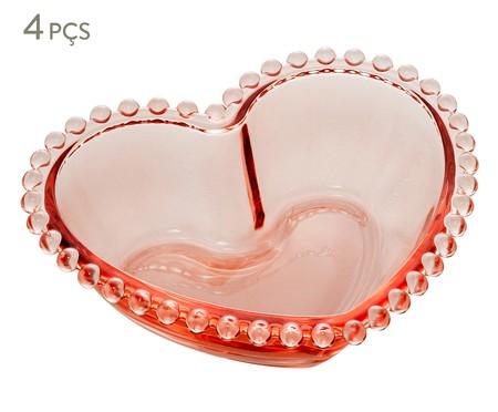Jogo de Bowls Coração em Cristal Âmbar - Rosa | WestwingNow