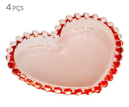 Jogo de Pratos Coração em Cristal Pearl - Rosa | WestwingNow