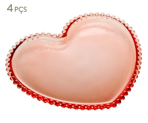 Jogo de Pratos Coração em Cristal Pearl - Rosa, Rosa   WestwingNow