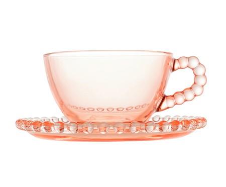 Jogo de Xícaras para Chá em Cristal Pearl - Rosa | WestwingNow
