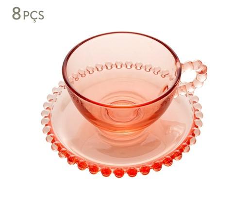 Jogo de Xícaras para Chá em Cristal Pearl - Rosa, Rosa | WestwingNow