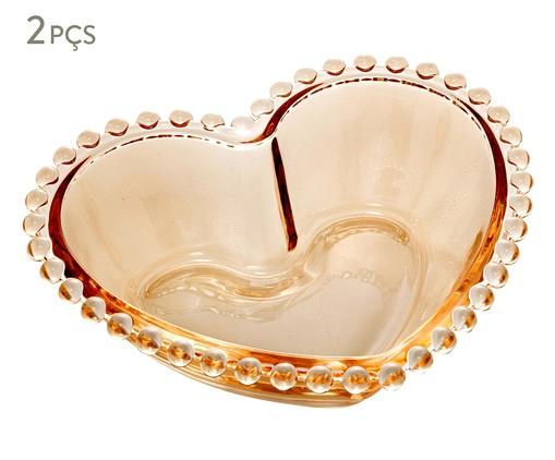 Jogo de Bowls Coração em Cristal Pearl - Âmbar, Âmbar   WestwingNow