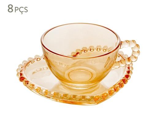 Jogo de Xícaras para Chá em Cristal Pearl - Âmbar, Âmbar   WestwingNow