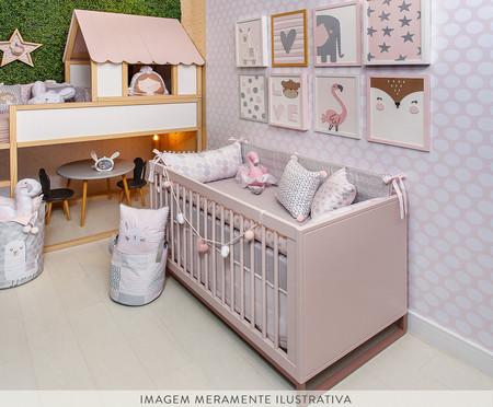 Saco de Brinquedos Grande Flamingo - Cinza | WestwingNow