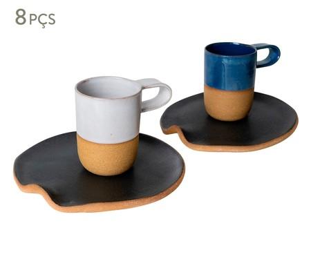 Jogo de Xícaras e Pires para Café em Argila Cone Branco e Azul - 04 Pessoas | WestwingNow