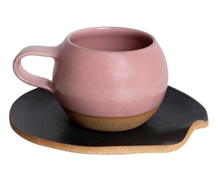 Jogo de Xícaras e Pires para Chá em Argila Bola Branco e Rosa - 04 Pessoas | WestwingNow