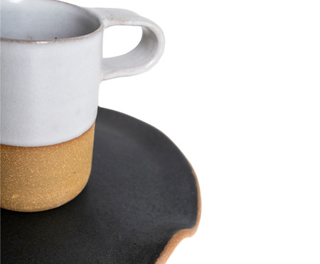 Jogo de Xícaras e Pires para Café em Argila Cone Branco - 04 Pessoas | WestwingNow