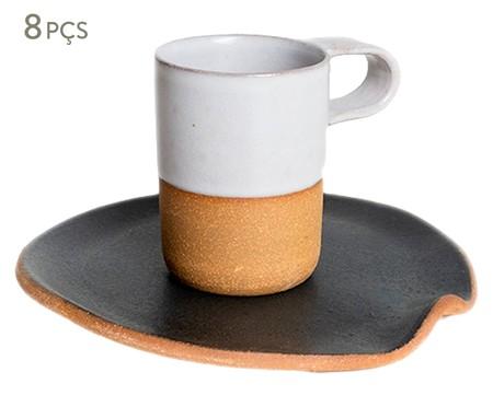 Jogo de Xícaras e Pires para Café em Argila Cone - Branco | WestwingNow