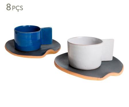 Jogo de Xícaras e Pires para Café em Argila Palito Branco e Azul - 04 Pessoas | WestwingNow